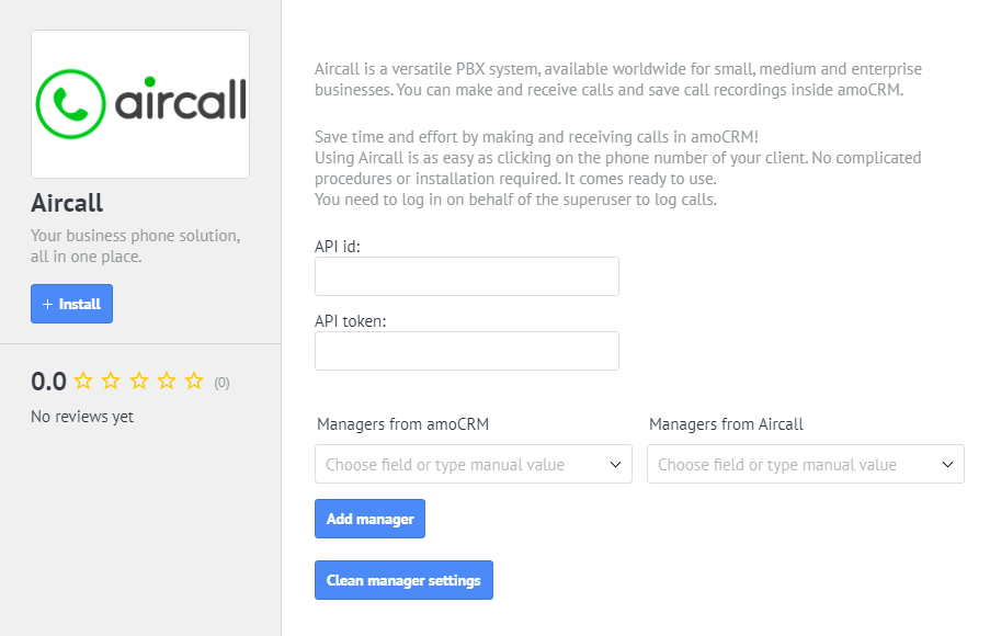 How to connect Aircall to amoCRM